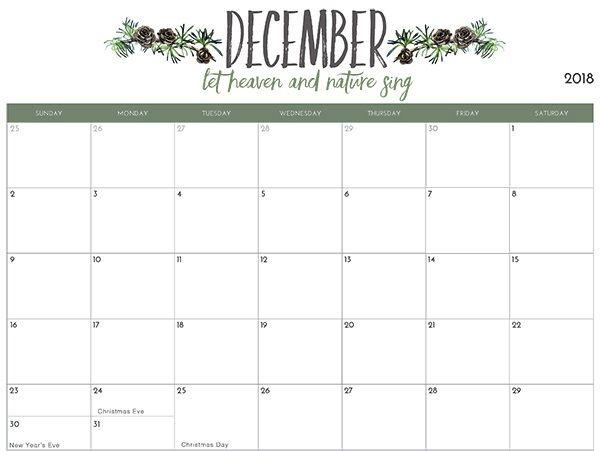 December 2018 Calendar With Holidays Shablony Kalendarej