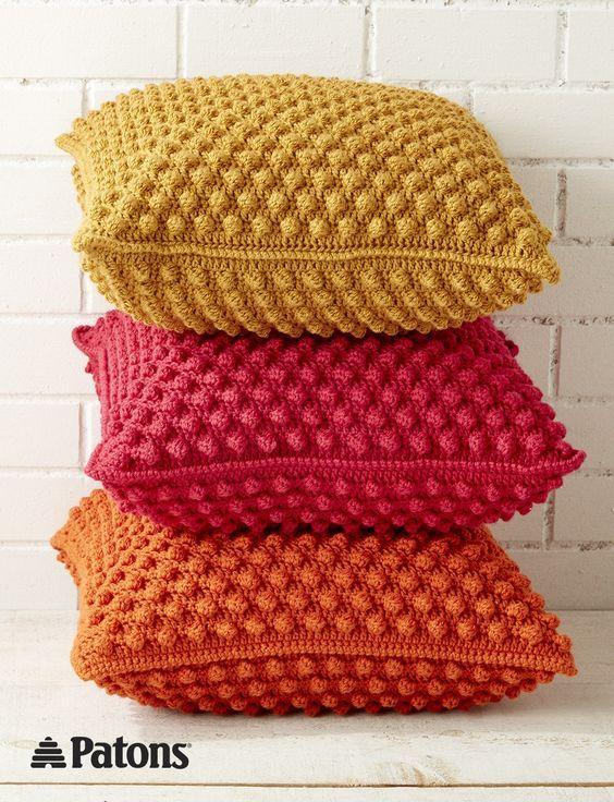 Bobble-licious Pillows   crochet   yarnspirations   patons   crochet pillow   home decor   free pattern   crochet pillow: