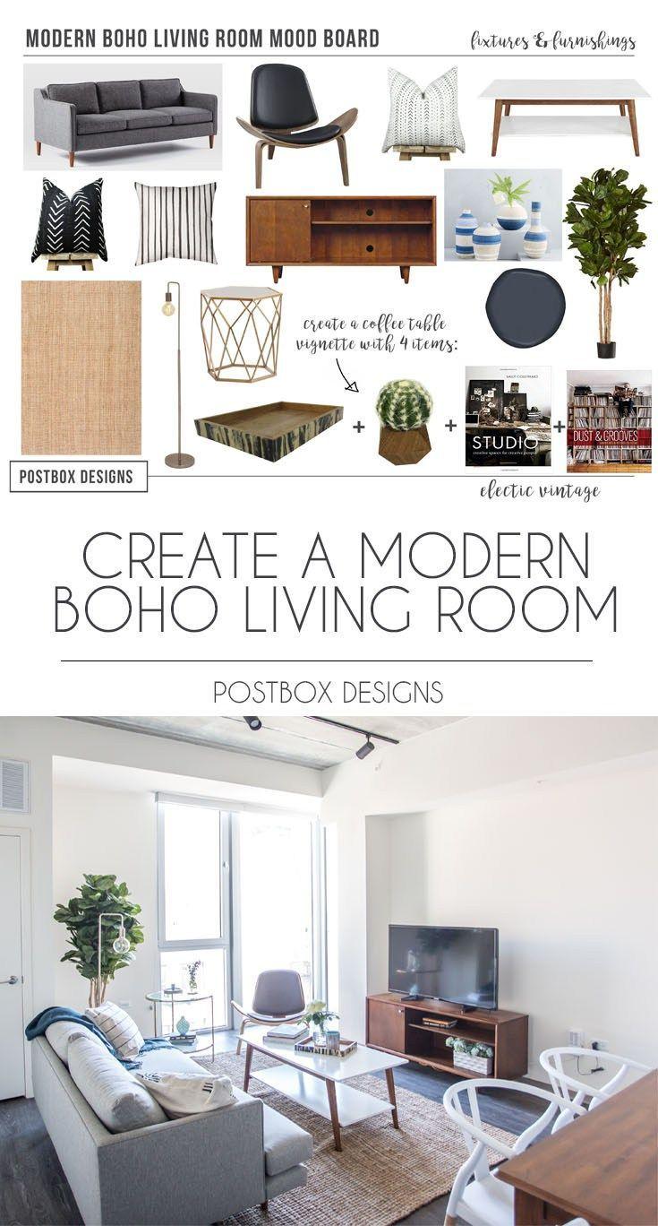 Postbox Designs Interior E Design: Modern Boho Living Room Makeover, Modern  Living Room