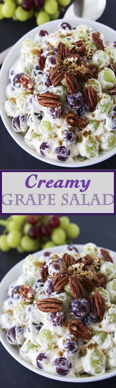 Creamy Grape Salad ~ Warning!.. This salad is one of the most addicting fruits salads ever - Full of sweet red and green grapes,topped with some buttery pecans and a dust of brown sugar.