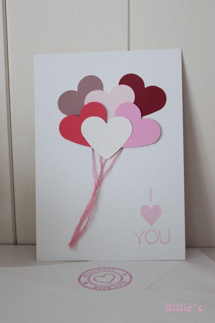 Sillie's valentijnskaart met hartjes ballonnen met 3d effect. #Valentinecard