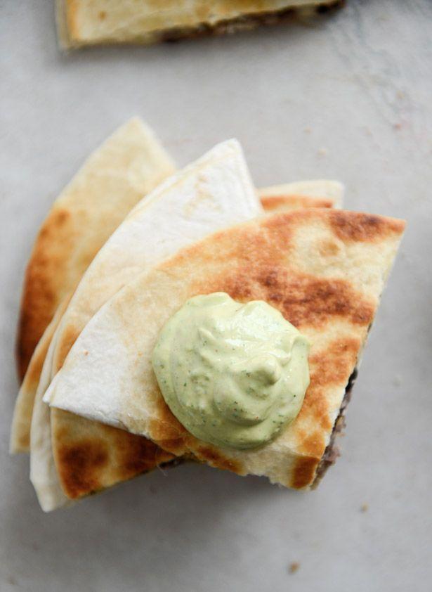 Cheesy Double Bean Quesadillas with Homemade Avocado Ranch | howsweeteats.com