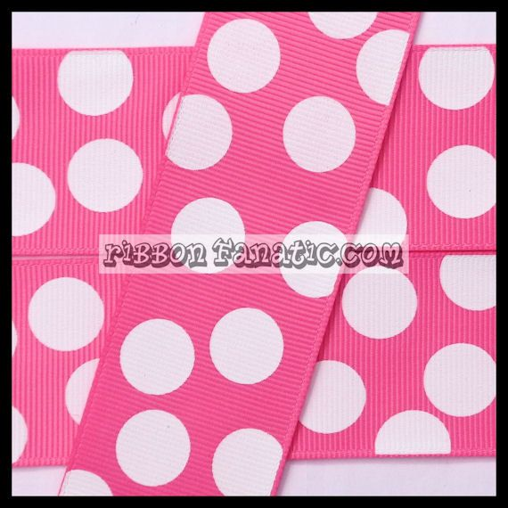 5 yds 1.5 Hot Pink with Jumbo White Polka Dots by RibbonFanatic, $5.75