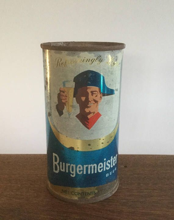 Burgermeister Beer Can Vintage Beer Can Flat Top Can Man Etsy Vintage Beer Beer Can Beer Can Collection