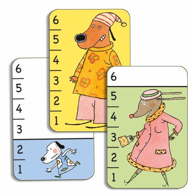 Voici un jeu de bataille très amusant et idéal pour développer la notion d'ordre de grandeur. Conçu aussi pour les enfants qui ne savent pas encore compter mais qui peuvent tout de même jouer grâce aux représentations colorées des chiens de différentes tailles. Jeu de 36 cartes. Livré dans une boite à tiroir. Dès 3 ans.