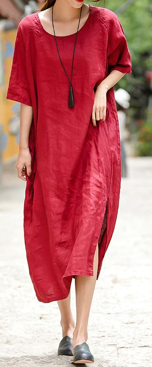 42fd5834307 2018-red-embroider-fabric-long-linen-dress -plus-size-o-neck-side-open-traveling-dress-vintage-half-sleeve-baggy- dresses