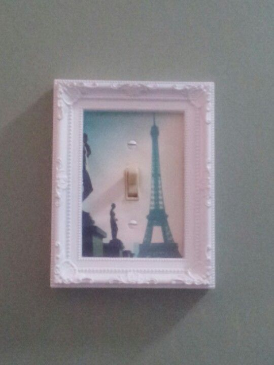 DIY light switch cover using cute but cheap picture frame...took me maybe 2-3 minutes and I only spent a dollar :3