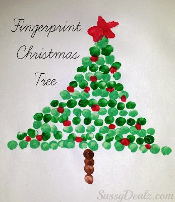 Fingerprint Christmas Tree Craft For Kids #Christmas craft for kids | CraftyMorning.com