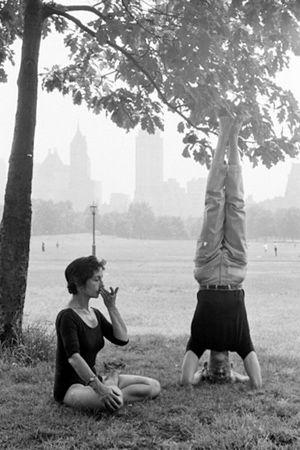 1961: Couple practice yoga in Central Park, New York, USA ...... #vintageyoga #yogahistory #1960s #yoga #yogalife #yogaworld #om