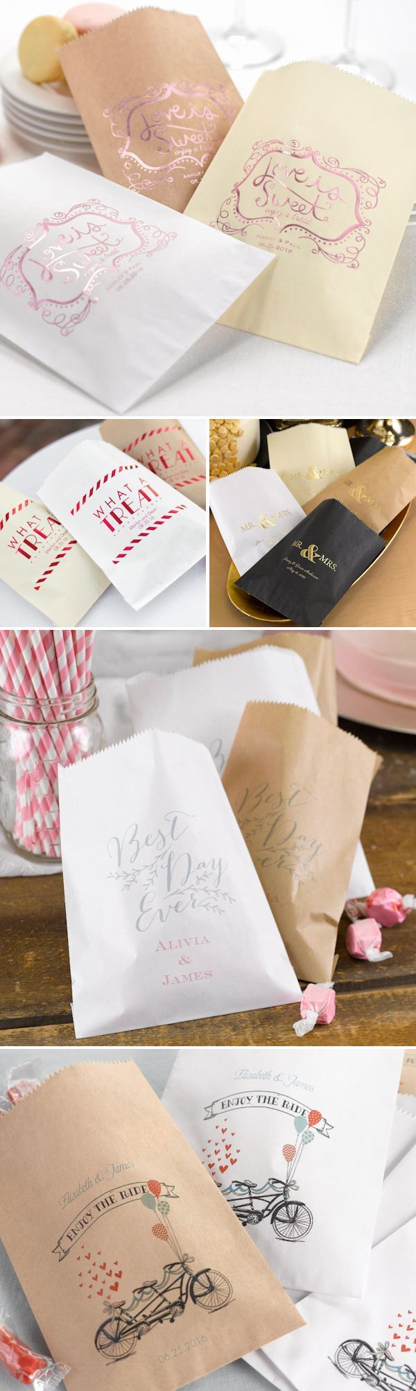 Having a candy or dessert buffet at your wedding?  Check out these fun, stylish and personalized goodie treat bags!