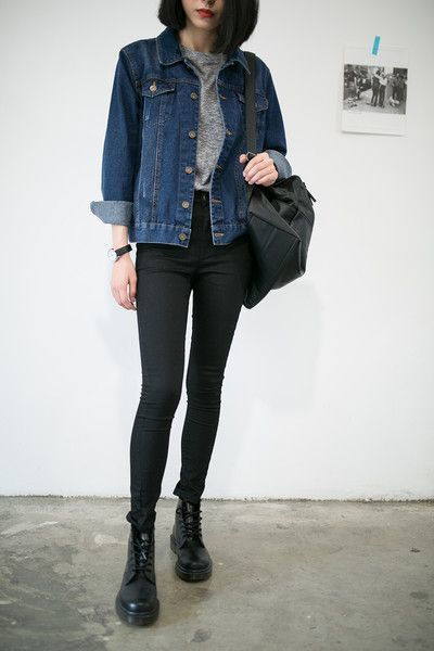 Women's Navy Denim Jacket, Grey Crew…