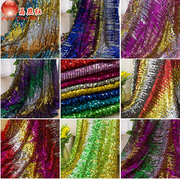Bling Bling Блестками кружевной ткани 4 цветов цветные полосы яркий блестка…