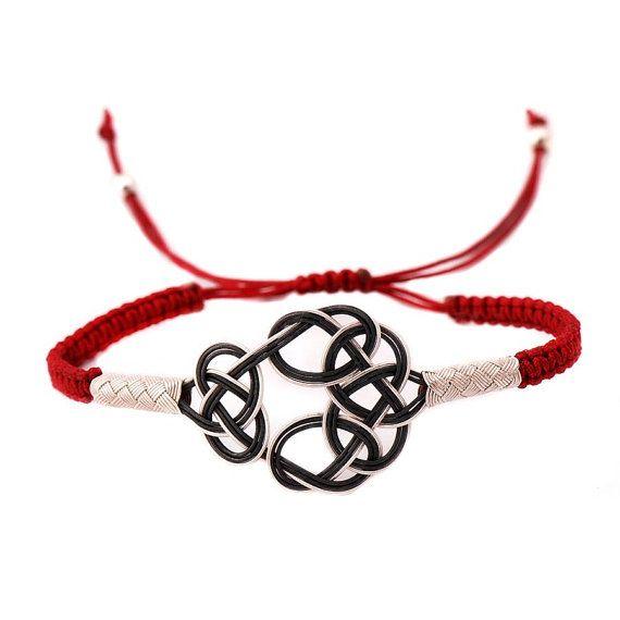 Sterling Silver Wire Woven Bracelet  Macrame Cord in by monarity