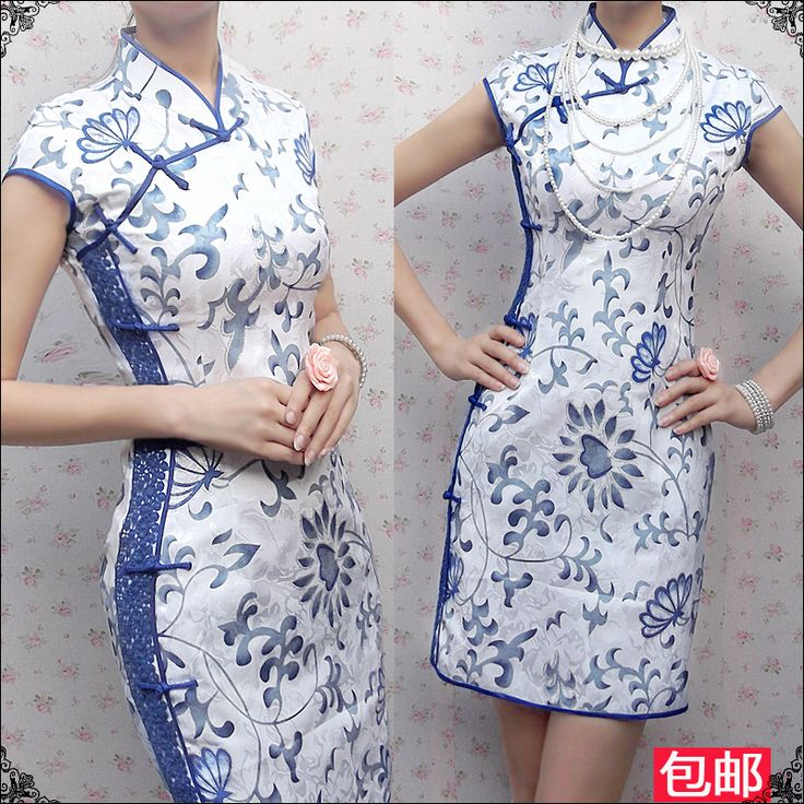 2013 xiaxin fashion vintage cheongsam palpebra blue and white porcelain  short qipao elegant lace one piece