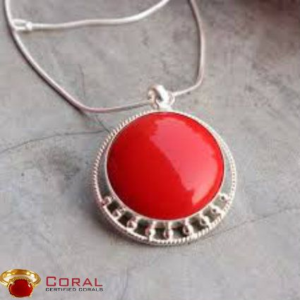 Gift this beautiful coral gemstone embedded in sterling silver pendant that will make your darling dazzle everywhere she goes!