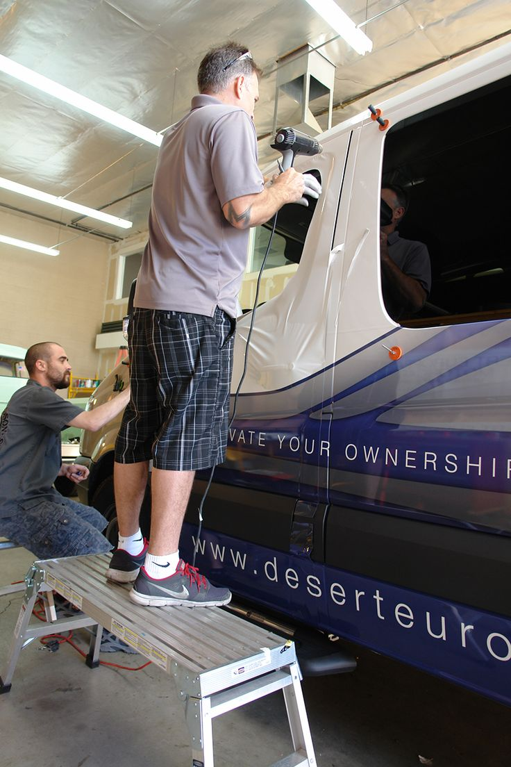 Installing a vehicle wrap for Desert European at the Desertwraps.com warehouse based in Palm Desert, CA. We service vehicles and individuals coming from Palm Springs, Cathedral City, Rancho Mirage, Palm Desert, La Quinta, Indian Wells, Indio, Desert Hot Springs, Yucca Valley. Call 760-935-3600