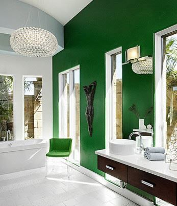emerald bathroom--design by Laura Britt Design: Bathroom Design, Emerald Green, Modern Bathroom, Emeralds Green, Green Wall, Color, Kelly Green, Master Bath, Accent Wall