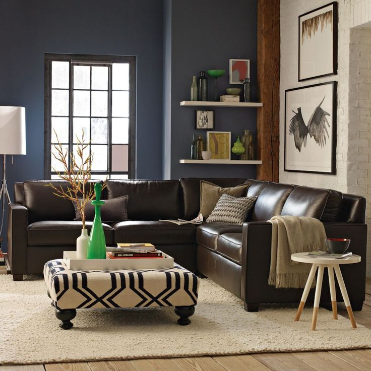 Corner sofa brown leather Build Your Own -Henry Leather Sectional