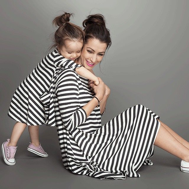 Striped Family Matching Outfit Long Sleeve Family Clothing Mother and Daughter Matching Dresses Mom and Baby Clothes HZ00