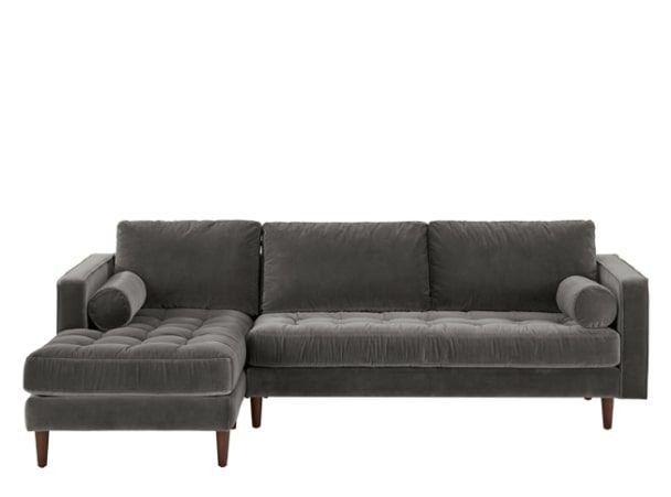 Scott 4 Seater Left Hand Facing Chaise End Sofa, Concrete Cotton Velvet