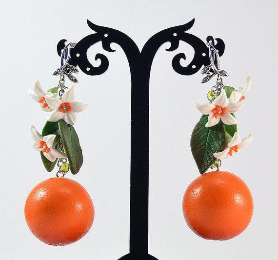 Grande arancioni orecchini polimero argilla gioielli