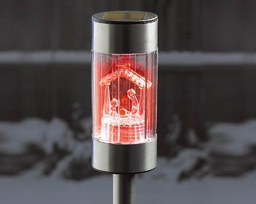 Nativity Solar Light £13  No wiring required! The solar light must be switched on to absorb solar power from the sun, and at night will automatically turn on. Colour changing. Height (including stake) 43cm.  KLife Kleeneze Christmas Xmas