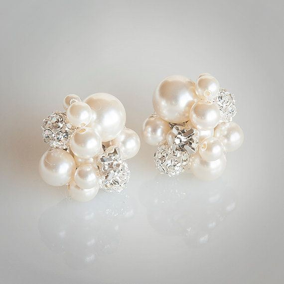Pearl Cluster Wedding Earrings Bridal Stud by GlamorousBijoux