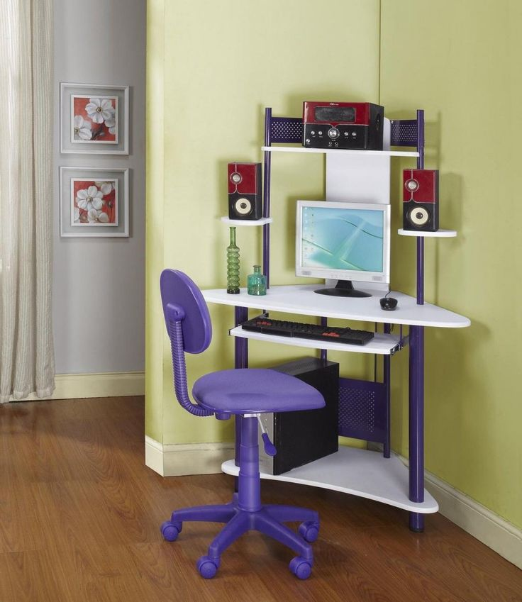Modern Corner Computer Desk Ideas With Purple Swivel Chair Designd With  Graded Boards And Green Painting