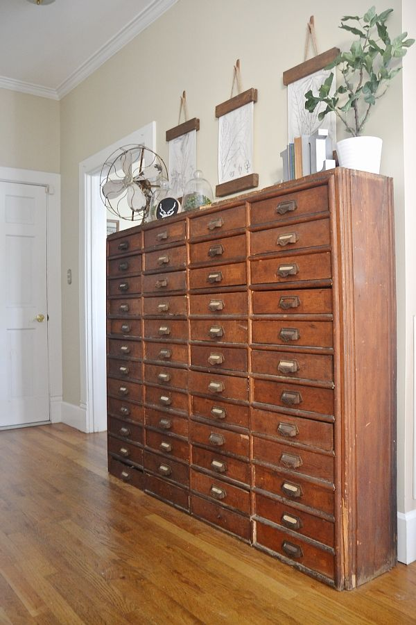 Card Catalog Decor- simple lovely rustic decor