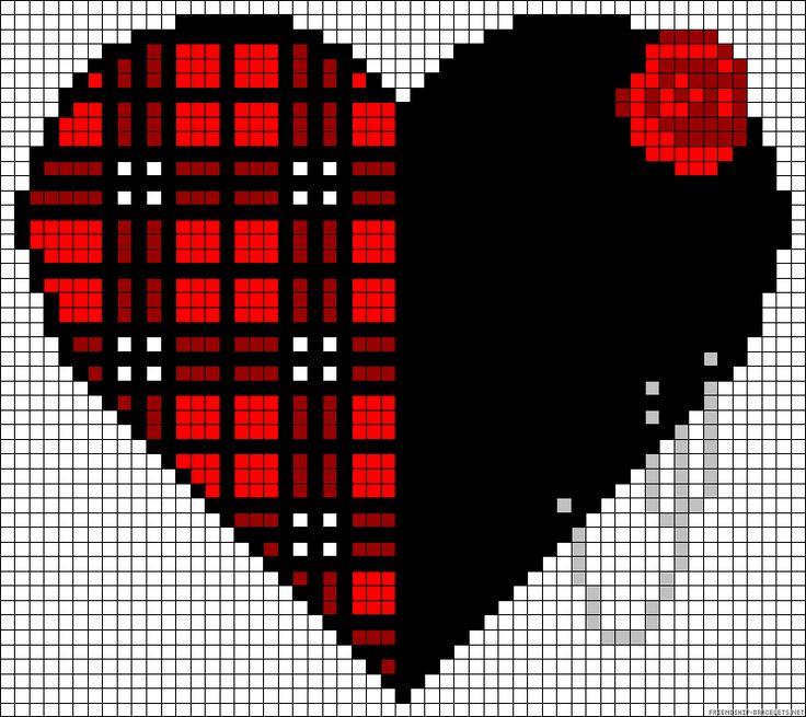 Heart rose plaid perler bead pattern