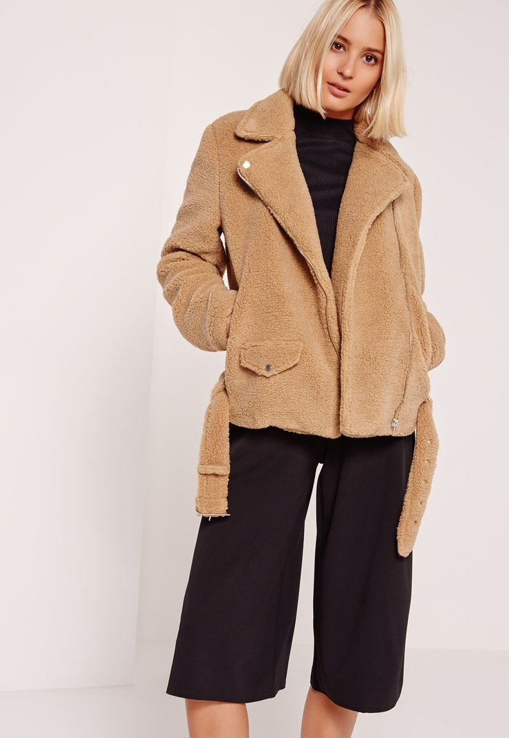 Missguided - Faux Shearling Biker Jacket Brown