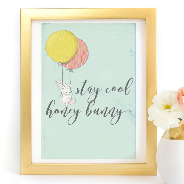 """""""Stay Cool Honey Bunny"""" Typography Art Print - Paper Ponies Boutique"""