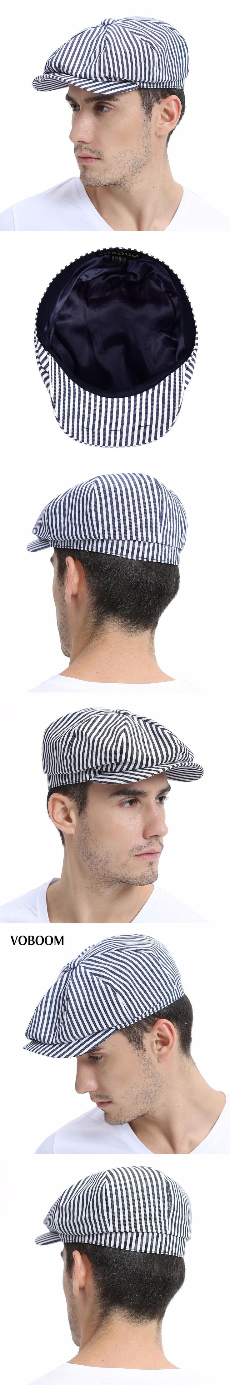 VOBOOM Summer Newsboy Flat Cap Black Navy Blue Stripe  Ivy Caps 8 Panel Design Men Women Cotton Gatsby Hat 146