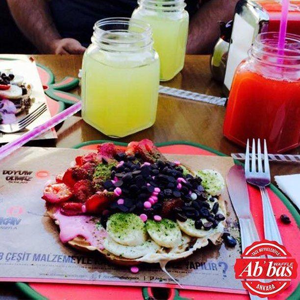 Buz gibi limonatalar, dopdolu waffle'lar! 😊 #AbbasWaffleAnkara #BuzGibiLimonata #DopdoluWaffle