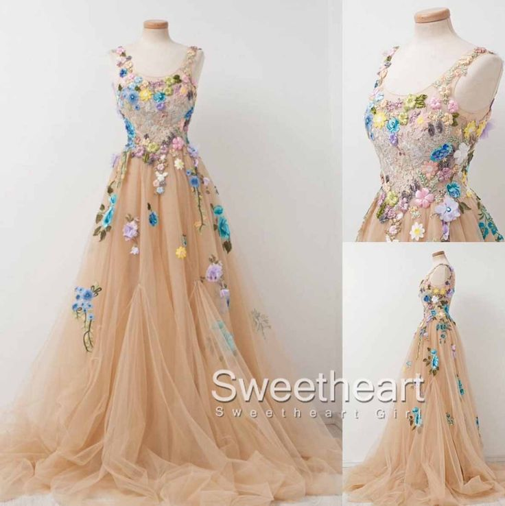 A-line Round neck tulle applique long prom dress, champagne long evening dress
