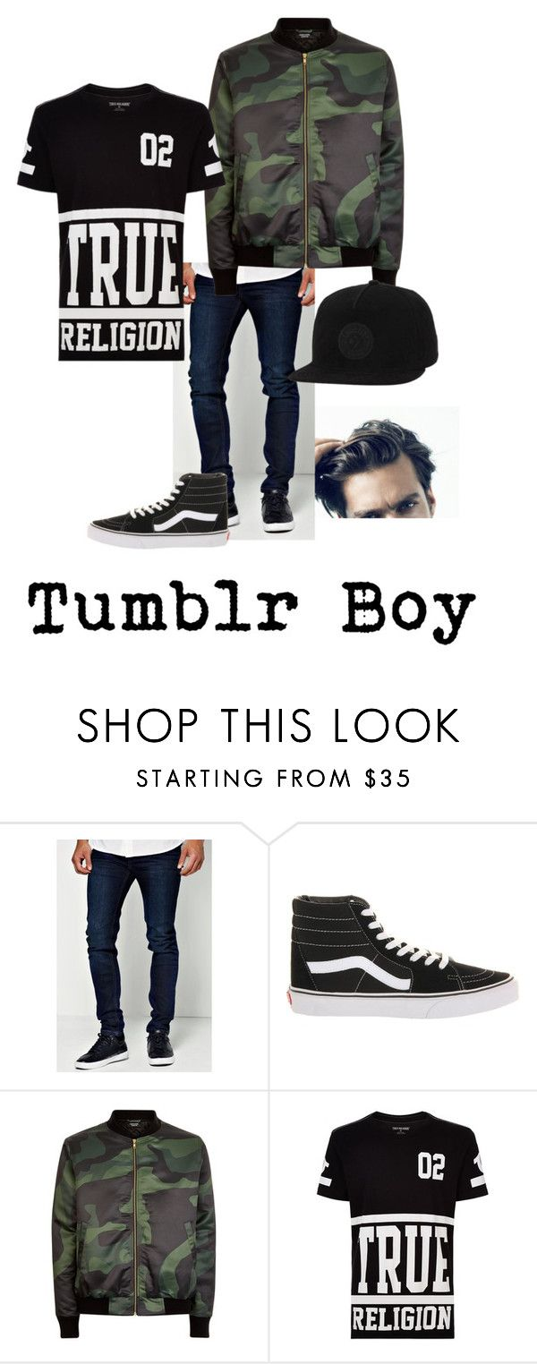 """Tumblr Boy"" by gcdonuts on Polyvore featuring BoohooMAN, Vans, True Religion, Converse, men's fashion and menswear"