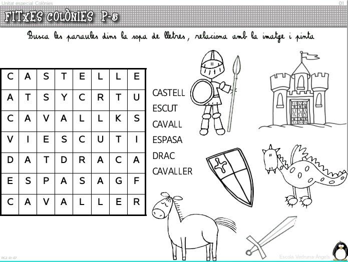 Llegir les paraules,buscar-les a la sopa de lletres i relacionar-les amb el dibuix