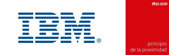 Logo de IBM, ejemplo del Principio de la Proximidad de la Gestalt   https://www.silocreativo.com/principios-gestalt-diseno-grafico/
