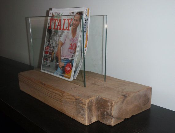 Modern Rustic Magazine Holder. Reclaimed Wood and Glass. Handmade Home Décor. Barn  Wood Magazine Rack.