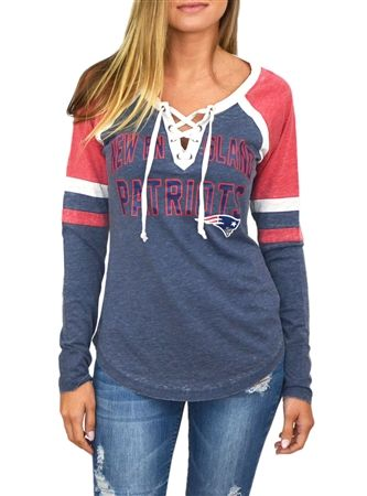 New England Patriots Womens Laceup Long Sleeve Top | SportyThreads.com