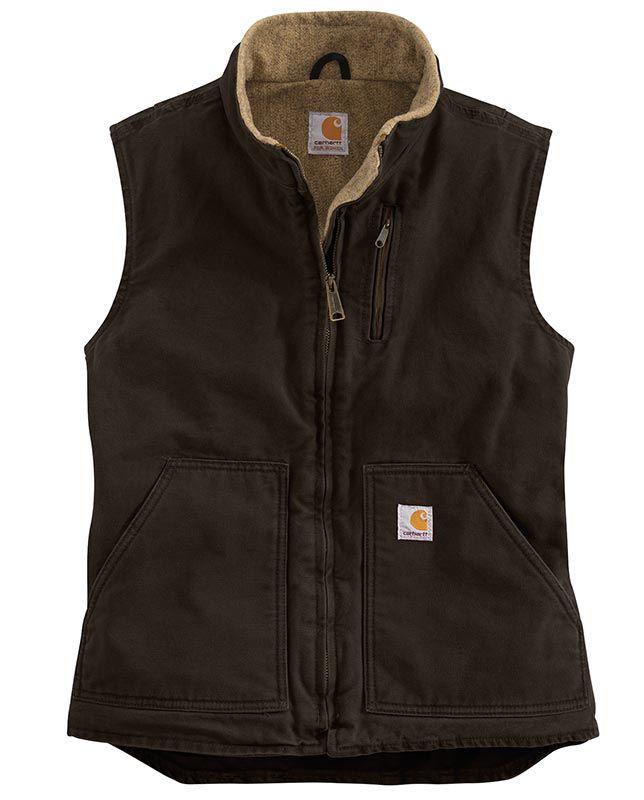 Carhartt Women's Dark Brown Lined Vest - Outerwear - Women's