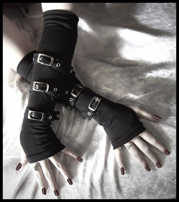 """Contorted Angel"" Gothic Unisex Buckled Up Bondage Arm Warmers in Midnight Black"
