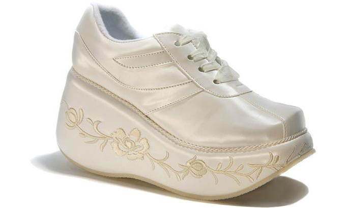 Bridal shoes to send you running for the hills. Kara, these are the shoes you should get. HAW!