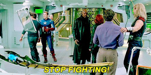Stop fighting! || Joss Whedon, Steve Rogers, Tony Stark, Nick Fury, Natasha Romanoff, Bruce Banner, Thor Odinson || Avengers Gag Reel || 500px × 250px || #animated #bloopers #quotes