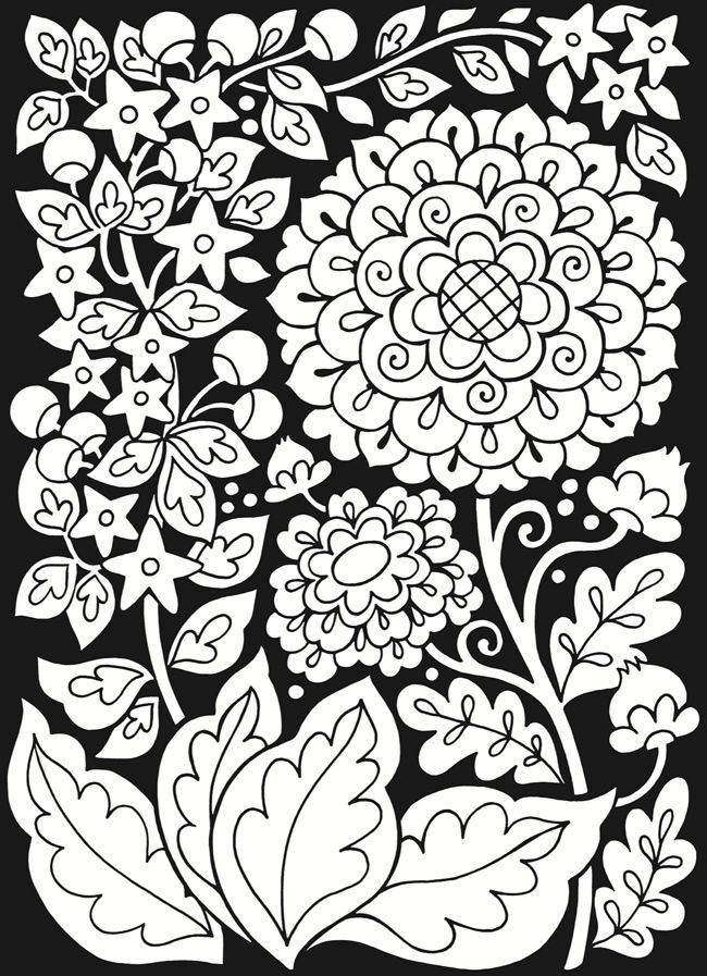 Floral Fantasies Stained Glass Coloring Book Dover Publications