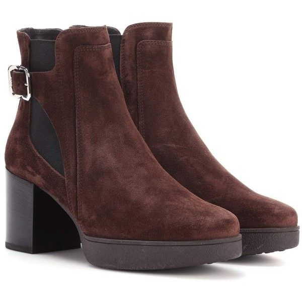 Tod's Suede Ankle Boots ($830) ❤ liked on Polyvore featuring shoes, boots, ankle booties, brown, short brown boots, ankle boots, brown suede ankle booties, suede ankle booties and suede bootie