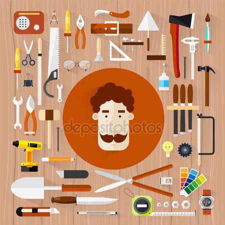 Carpintería. Herramientas de hardware de construcción. Fondo de textura de árbol. Ilustraciones planas de color vectorial — Vector de stock