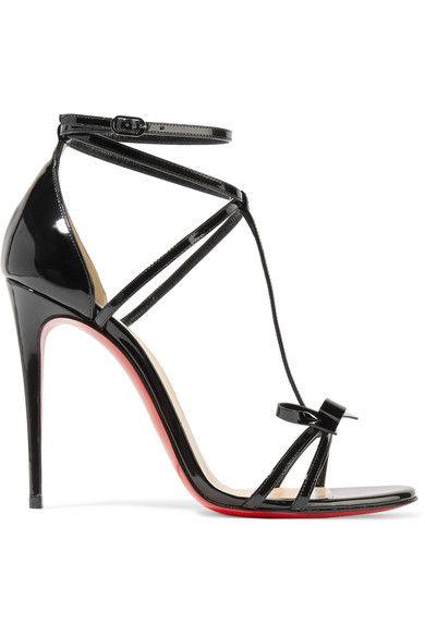 Christian Louboutin - Blakissima 100 Bow-embellished Patent-leather Sandals - Black - IT37.5