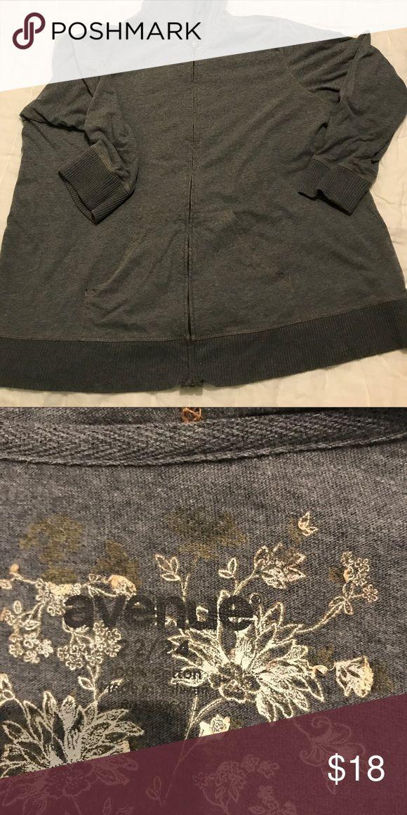 Lightweight zip up hoodie Plus size grey lightweight zip up hoodie gently used Avenue Jackets & Coats