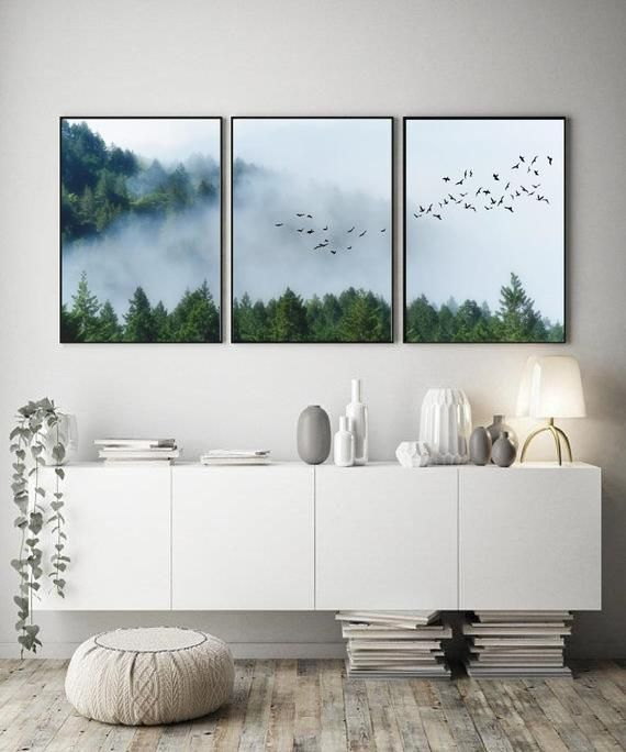 Black Dot Studio Set Of Three Wall Art Prints Mountains And Forest In The Fog Perfect Home Gallery Mod Printables Mountain